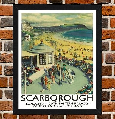 Framed Scarborough Yorkshire Travel Poster A4 / A3 Size In Black / White Frame
