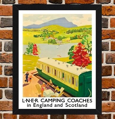 Framed Camping Coaches Railway Travel Poster A4 / A3 Size In Black / White Frame