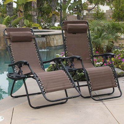 2PC Brown Zero Gravity Lounge Chairs Recliner Outdoor Beach Patio W/ Cup  Holder
