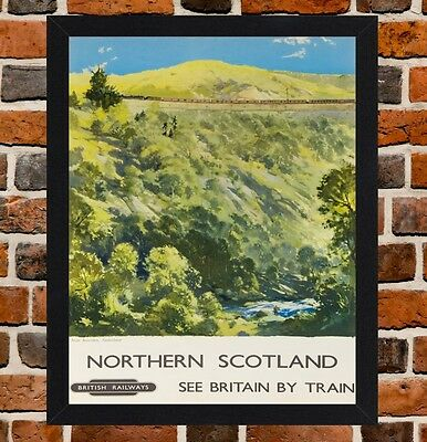 Framed Northern Scotland Railway Travel Poster A4 / A3 Size In Black/White Frame