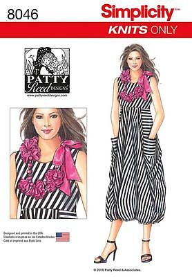 Simplicity Sewing Pattern Misses' Knit Dress Floweer Necklace Size Xs - Xl  8046