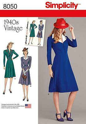 SIMPLICITY SEWING PATTERN MISSES' 1940s VINTAGE DRESS SIZE 6 - 22 8050