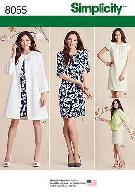 Simplicity Sewing Pattern Misses' Dress & Coat Or Jacket  Size 8 - 24 8055