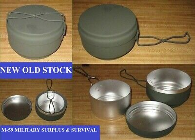 3 Pc.czech Army O.d. Aluminum Mess Kit - New - Never Issued - Never Used - S#nh