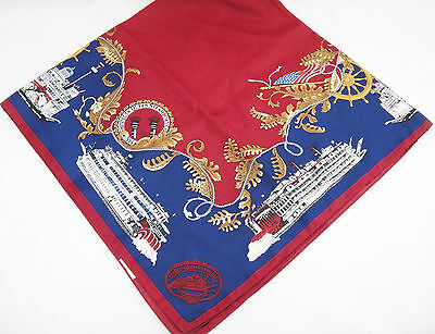 Delta Queen Steamboat Co Women's Scarf Blue & Burgundy  35x35 Paddle Boats