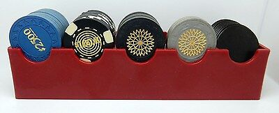 Vintage Red Casino Slot Machine Silver Dollar Rack & 23 Clay / 9 Bakelite Chips