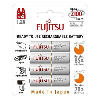 NEW 4 Pack Fujitsu Ready to Use AA HR06 NiMH Rechargeable AA Batteries 1900mAh