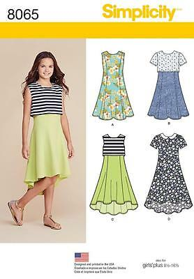 Simplicity Sewing Pattern Girls' / Girls' Plus Dress  Len Var 8-16 8-161/2  8065