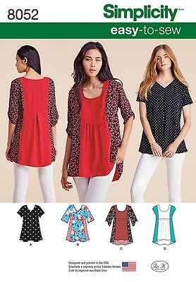 Simplicity Sewing Pattern  Misses' Easy To Sew Tops Sizes Xxs - Xxl  8052