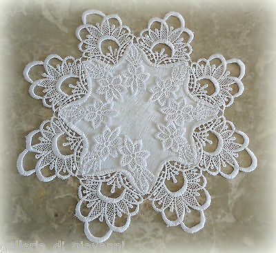 "Doily Lace 12""   DECADENT WHITE   Craft Coaster Teacup"
