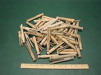 Lot Of 55 Vintage Wooden Round Peg Style Clothes Pins Weathered Patina Crafts