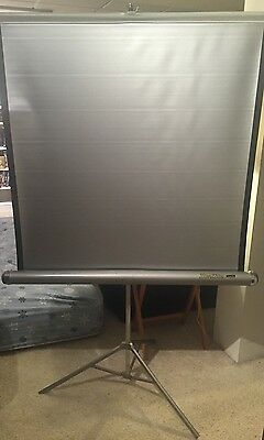 Vintage Da-Lite Silver Lite Tripod Base Retractable Projection Screen 40 X 40""