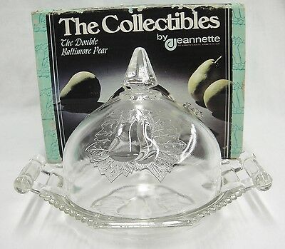 Jeannette Glass Double Baltimore Pear Covered Butter Dish #3715 Excellent Repro
