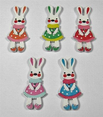 BB BUTTONS GIRL RABBITS pk of 10 wood bunny easter sewing craft animal