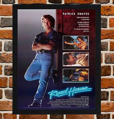 Framed Road House Movie Poster A4 / A3 Size In Black / White Frame