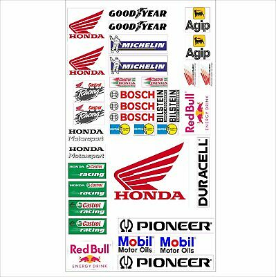 HONDA Logo Autoaufkleber Sponsoren Marken Aufkleber Decals Tuning Sticker Set