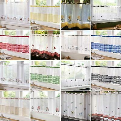 """Voile Cafe Panel Ready Made Net Curtain Panels Kitchen Bathroom 18"""" & 24"""""""