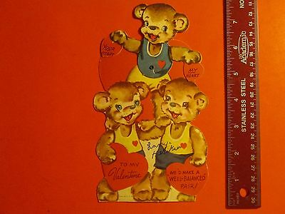 Antique Vintage Mechanical Valentine's Day Card Three Bears Top Bear Moves