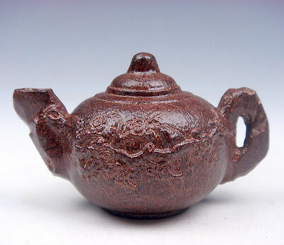 Mahogany Hard Wood Carved Sculpture Lovely Little Oriental Teapot #02051604