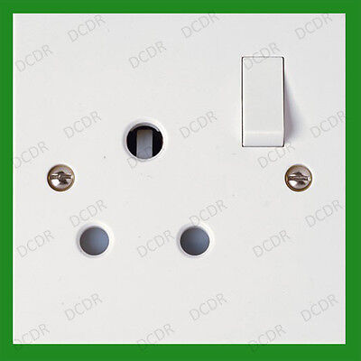 1 Gang 15A Single Mains Round 3 pin Wall Socket 15 Amp Type M Outlet BS 546