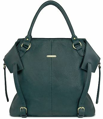 Timi & Leslie Charlie Faux Leather 7 Piece Baby Diaper Bag Deep Teal NEW 2016