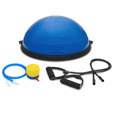 Exercise Fitness Blue Yoga Balance Trainer ball W/ Resistance Bands & Pump
