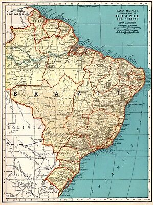 1939 Vintage Map of BRAZIL & GUIANAS Map Gallery Wall Art Home Decor 2643