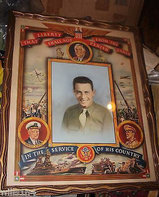 WWII US Personalized large color patriotic Photo Poster for soldier in frame