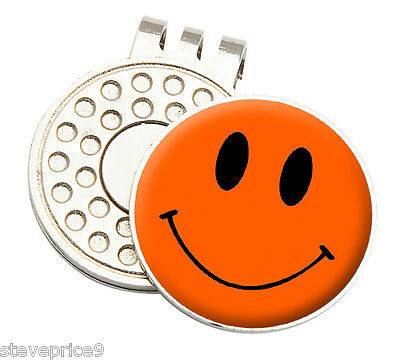 Orange Smiley Tour Gorro Clip Visera + Marcador De Pelotas De Golf By Asbri