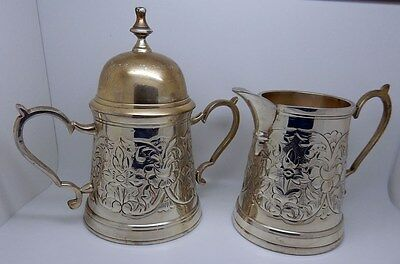 Vintage William Adams Towle Chased Silverplate Cream Pitcher & Sugar Bowl Set