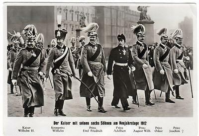 Early KAISER WILHELM II  and his Six Sons 1912  Photo  Postcard