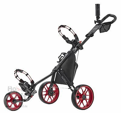 Caddytek 11.5 ALU 3 Rad Golf Push Trolley leichter Caddy schwarz Raeder rot 2018