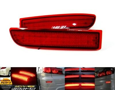 2x Red Rear Bumper Reflector LED Brake Stop Light Toyota Avensis Alphard Estima