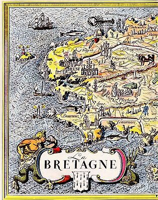 Charming FRANCE Map BRITTANY Region Fun Artistic Pictorial Map Fra 2659
