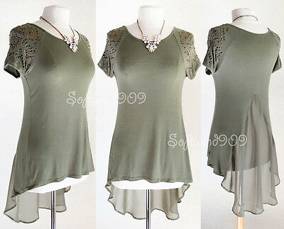 NEW Olive Army Green High Low Chiffon Layer Metallic Studs Edgy Chic T Shirt Top