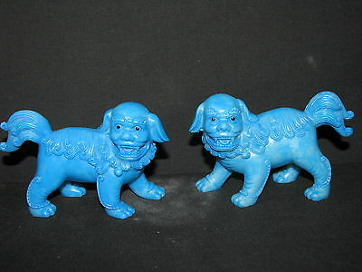 Pair Fu Dog Statues, Sky Blue 90mm - Good Luck (AN115)