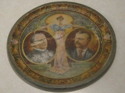 "1900 Theodore Roosevelt & William McKinley Metal 12"" Political Tray Chas W Shonk"