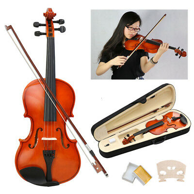 4/4 Full Size Acoustic Violin Set With Case&Bow&Rosin Cake&Bridge & Strings