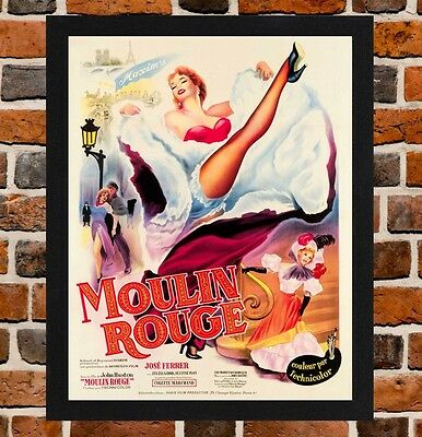 Framed Moulin Rouge Movie Poster A4 / A3 Size Mounted In Black / White Frame.