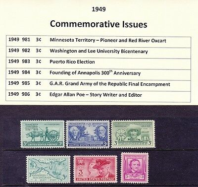 1949 Year Commemorative Full Set Mint Never Hinged w/Original Gum