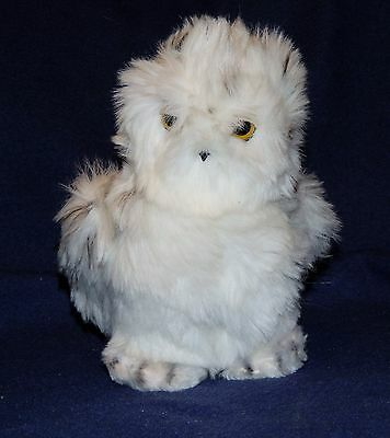 "7"" Vintage Dakin Snowy White Spotted Plush Owl Stuffed Animal 1981"