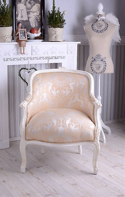 Barocker Sessel Frankreich Shabby Chic Bergere Sitzbank Creme Weiss
