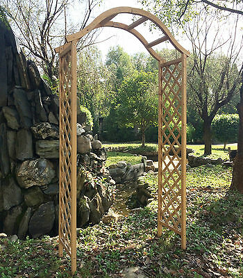 Garden Arch Wooden Pergola Feature Trellis Rose Archway Natural Tan Wood Timber