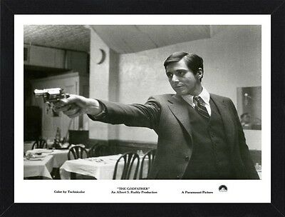 Framed The Godfather Movie Poster A4 Size Mounted In Black / White Frame (R-5)