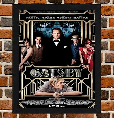 Framed The Great Gatsby Movie Poster A4 / A3 Size Mounted In Black / White Frame