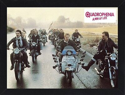 Framed Quadrophenia Movie Poster A4 Size Mounted In Black / White Frame   (R-1)