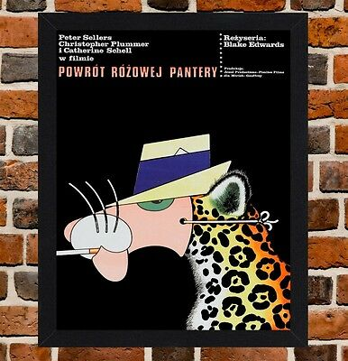 Framed The Pink Panther Polish Film Poster A4 / A3 Size In Black / White Frame