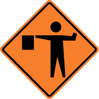 3M Reflective FLAGMAN FLAGGER Street Road Construction Sign - 30 x 30