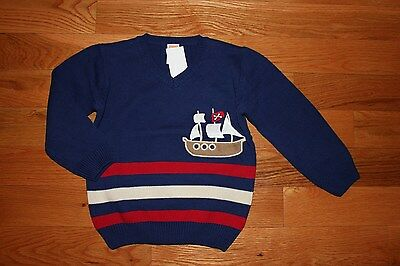 NWT Gymboree Stripes and Anchor Size 3T Navy Blue Striped Ship Boat Sweater boy