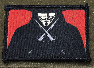 V for Vendetta Movie  Morale Patch Tactical ARMY Hook Military USA Badge Flag